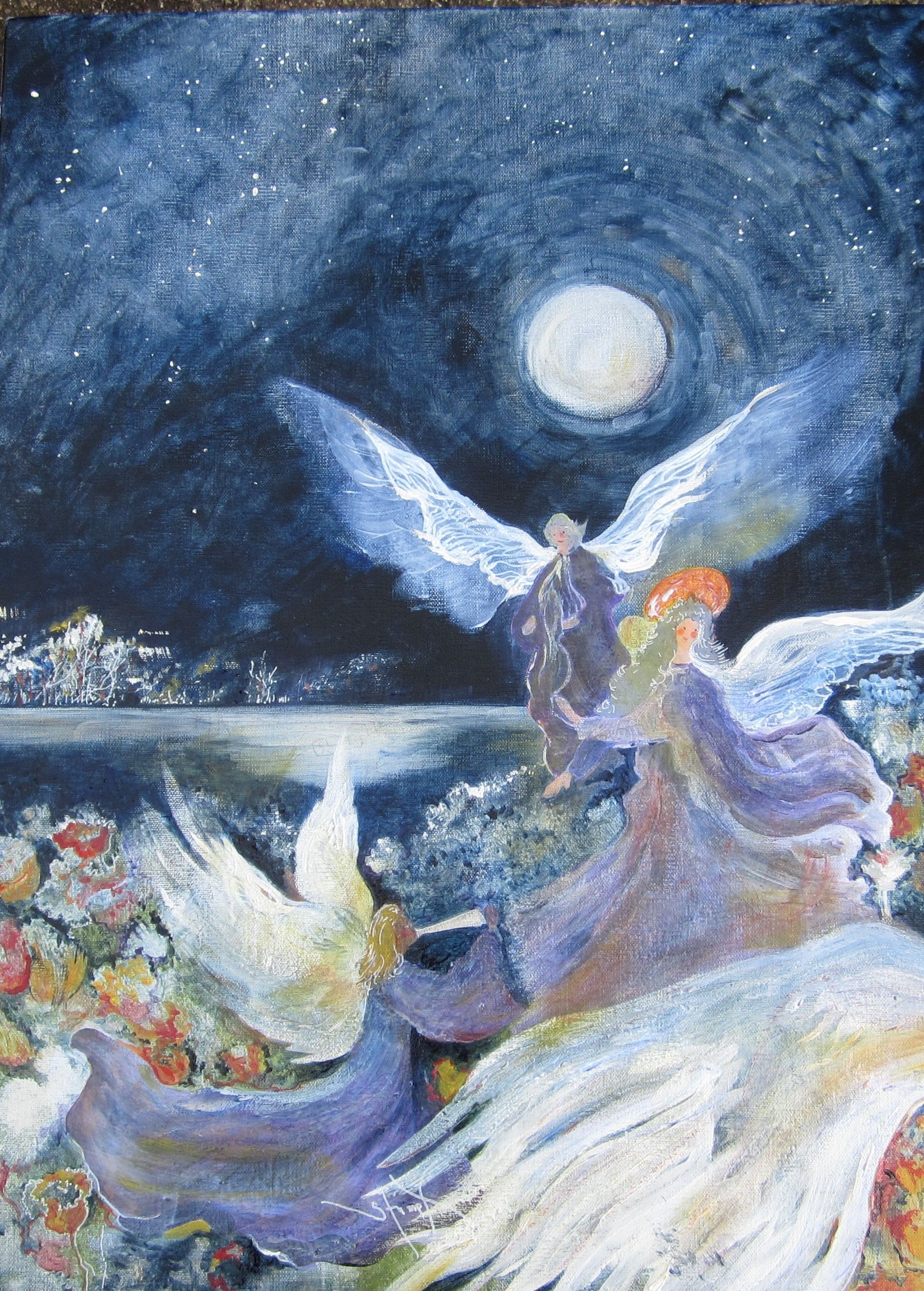 """Angels in the Moonlight, Acrylic on Canvas, 24"""" x 18"""""""