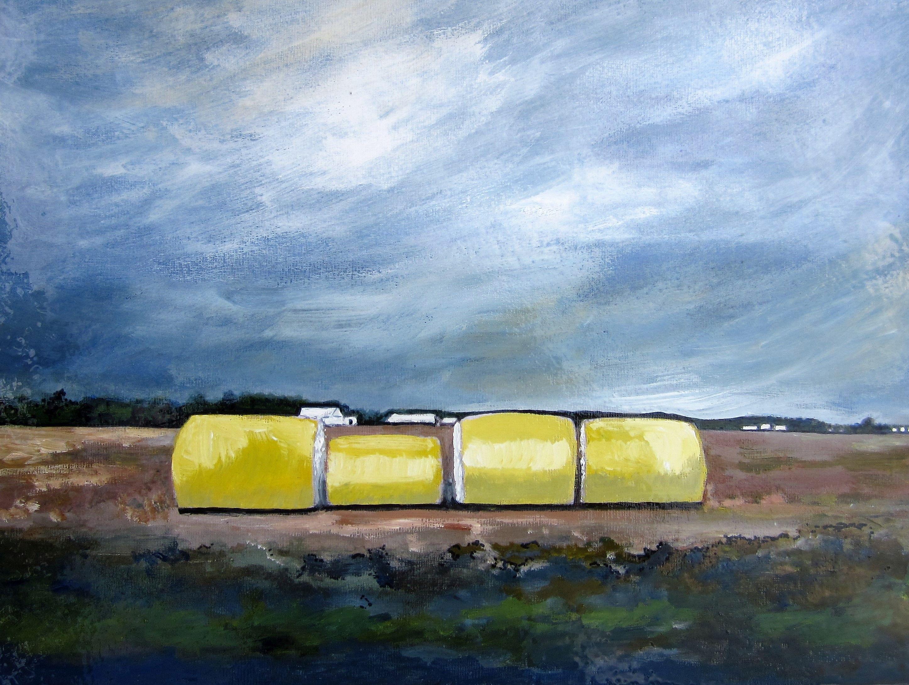 "Southeast Missouri Cotton Bales, Acrylic on Board, 16"" x 20"", by Mary Patricia Stumpf"