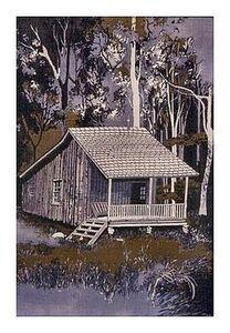 """Sweet Cabin, Mingo Swamp"", Batik on Cotton, 25"" x 21-1/2"", by Mary Patricia Stumpf"