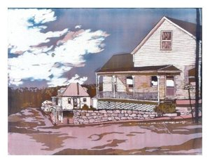 """Maeystown"", Batik on Cotton, 15-1/2"" x 20-1/2"", by Mary Patricia Stumpf"