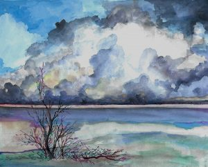 """""""Landscape"""" - Watercolor on Board - 9"""" x 10"""" by Mary Patricia Stumpf"""