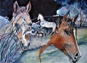 """""""Tyler's Horses"""", Acrylic on Masonite 9"""" x 12"""" by Mary Patricia Stumpf, Copyright 2020"""