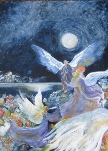"""""""Angels in the Moonlight"""", Acrylic on Canvas,, 24"""" x 18"""", by Mary Patricia Stumpf"""