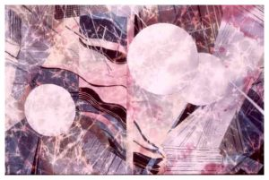 """Eleemosynary"", Batik on Cotton, 39"" x 46"", by Mary Patricia Stumpf"