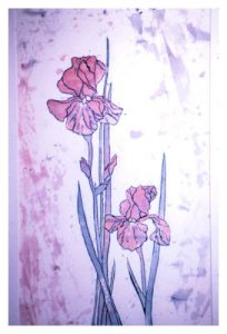 """Iris"", Batik on Cotton, 18"" x 18"", by Mary Patricia Stumpf"