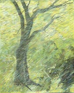 """Tree in Rain"", Acrylic on Canvas 10"" x 11-1/2"" , by Mary Patricia Stumpf"""