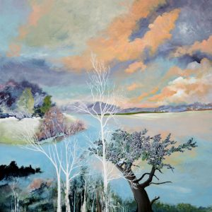 """""""White Trees"""" Acrylic on Canvas 30"""" x 30"""" by Mary Patricia Stumpf"""