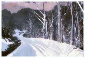 "Wolf Laurel I, Silk on Batik, 40"" x 60"", by Mary Patricia Stumpf"