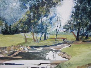 """""""Drainage Ditch"""", Acrylic on Canvas, 18"""" x 23"""" by Mary Patricia Stumpf"""