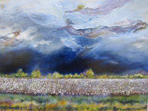 """Southeast Missouri Cotton Field"", Acrylic on Board, 17"" x 24"", by Mary Patricia Stumpf"