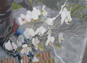 """""""White Orchids"""". Acrylic on Board, 16"""" x 20"""", by Mary Patricia Stumpf"""