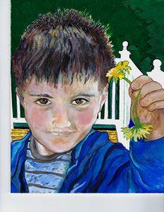 "Dandelions for Grandma - Acrylic on Masonite - 9"" x 12"" ,by: Mary Patricia Stumpf"