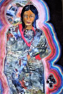 """""""Indian Woman """", Collage on Board, 30"""" x 20"""", by Mary Patricia Stumpf, Copyright 2020"""