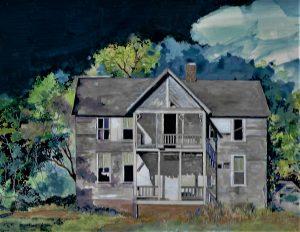 """Missouri Farm House, Acrylic on Masonite, 12"""" x 14"""", by Mary Patricia Stumpf, Copyright 2020"""