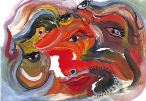 """White Swan"", Acrylic on Masonite 16"" x 20"" by Mary Patricia Stumpf, Copyright 2020"